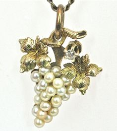 14k Vintage Grapevine Seed Pearl Pendant offered by Ruby Lane Shop Divine Finds Jewelry