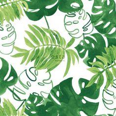 138887 HD Vliestapete gemalte, tropische Dschungelblätter Tropisches Dschungel Grün