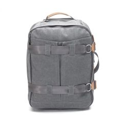 Qwstion - 3 Day Travel Bag - Washed Grey - Suitcase - Luggage  *large main compartment *removable shoe/laundry bag *integrated top pocket *inner zip sleeve for shirts *collapsible multi-length handle *side & top handles *inner & outer compression straps *polyurethane wheels *name-tag holder *vegetable-tanned leather trims *water-resistant