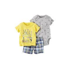 Baby Boy Carter's Print Bodysuit, Graphic Tee & Plaid Shorts Set, Size: 6 Months, Yellow