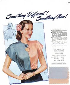 Love this two-tone blouse! Vintage Dress Patterns, Vintage Dresses, Vintage Outfits, 1940s Fashion, Diy Fashion, Vintage Fashion, Historical Women, Historical Clothing, Colour Blocking Fashion