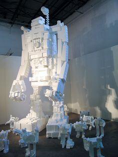 Styrofoam robots by Michael Salter, Pulse Miami, 2008.