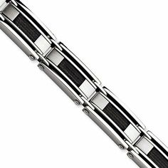 """Stainless Steel and Black Wire Inset 8.5 Inch Bracelet The Black Bow. $94.00. Black-plated wire insets; Average weight 71.26 grams; Crafted with 316L stainless steel; Measures 11mm wide by 8.5"""" long"""