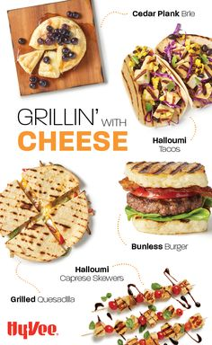 From grilled quesadillas to bunless burgers, we have delicious recipes that involve grilling cheese. Burger Buns, Good Burger, Burgers, Chicken And Veggie Recipes, Delicious Recipes, Yummy Food, Caprese Skewers, Bunless Burger, Cheese Tacos