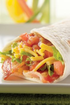 Southwestern-Style Bacon Roll-Ups – Bacon, lettuce, and tomato do their BLT magic, Southwest style, in these cheesy, salsa-filled tortilla roll-ups. This top rated recipe is ready in just 10 minutes.