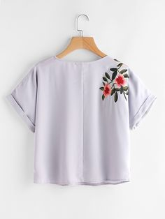 c1d7f81a27754d Grey Cuffed Sleeve Front and Back Flower Embroidered Top