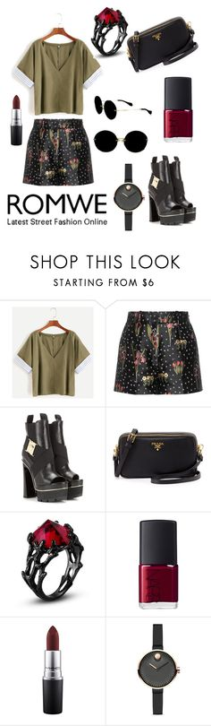 """""""Army Green"""" by giannilachica ❤ liked on Polyvore featuring RED Valentino, Versace, Prada, NARS Cosmetics, MAC Cosmetics, Movado and Miu Miu"""