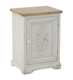 WOODEN BEDSIDE TABLE IN WHITE_NATURAL COLOR 50X38X70