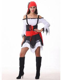 Product Code: THC0230176 Package included: headscarf,dress,overalls,belt Gender: Female Age Group: Adult Color:White Pattern: pirate costume Material: Polyester 2016 the latest Halloween costumes are