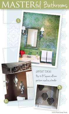 @Melanie@ Royal Design Studio featured on of my bathroom projects in her bathroom stencil ideas from customers-Stencil Ideas Blog area of her new website!  Go to www.royaldesignstudio.com and check it out!  My project is the green tile bathroom!