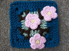 """Ravelry: Project Gallery for Plum Blossoms 6"""" afghan square pattern by Abigail Bailey"""