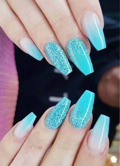 Blue Glitter Nails, Blue Acrylic Nails, Blue Nail Designs, Acrylic Nail Designs, Blue Design, Bridal Nail Art, Nagellack Trends, Glow Nails, Nagel Gel