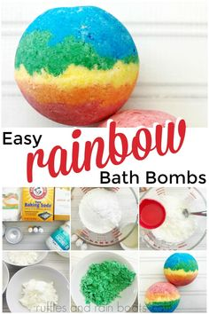 Make these fun rainbow bath bombs with just a few ingredients from the kitchen. The color and bubbles from this easy bath fizzy recipe will WOW everyone. Fizzy Bath Bombs, Homemade Bath Bombs, Lush Bath Bombs, Diy Bath Bombs Easy, Making Bath Bombs, Natural Bath Bombs, Diy Crafts To Sell, Crafts For Kids, Homemade Crafts