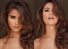 Warm brown hair || makeup. when i see all these fall hair colors for brown blonde balayage carmel hairstyles it always makes me jealous i wish i could do something like that I absolutely love this fall hair color for brown blonde balayage carmel hair style so pretty! Perfect for fall!!!!!