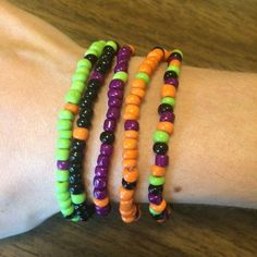 Items similar to Halloween Bracelets / Halloween Jewelry / Small Colorful Seed Bead Bracelets / Halloween Colors - Orange Black Purple Green on Etsy Seed Bead Necklace, Seed Bead Bracelets, Friendship Bracelets, Seed Beads, Bracelet Set, Bracelet Crafts, Diy Necklace, Necklaces, Etsy Jewelry
