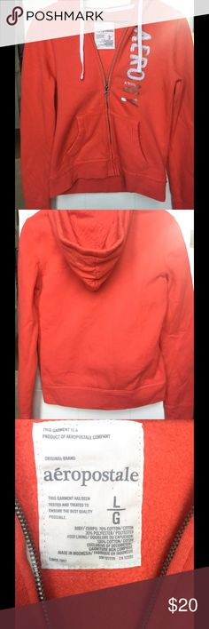 Aeropostale Hoodie Bright red/ orange hoodie. Size Large Aeropostale Jackets & Coats