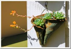 Succulents and More: Visiting Anna Zakaria's whimsical succulent garden Hand Built Pottery, Slab Pottery, Ceramic Pottery, Pottery Art, Cement Garden, Cement Art, Garden Art, Vertical Succulent Gardens, Succulents Garden