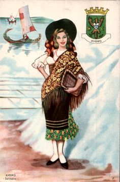 Salina de Aveiro, Portugal Algarve, Portuguese Culture, Folk Costume, My Heritage, Vintage Travel Posters, Vintage Prints, Traditional Outfits, Illustrations Posters, Beautiful