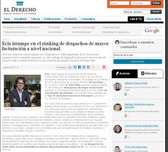 Legal Media 'El Derecho' also published an article on Ecix's entry into Expansión's law firms ranking, showing our client to be the nº1 in creating jobs, in the top 10 of international billing, amongst the 40 biggest law firms in the country and part of the top 10 firms with the highest income per partner.