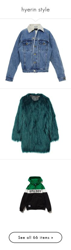 """hyerin style"" by gtgemma ❤ liked on Polyvore featuring outerwear, jackets, blue, coats & jackets, denim jacket, alpaca wool jacket, vintage jean jacket, jean jacket, vintage jackets and blue jean jacket"