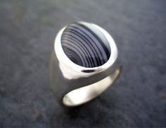 Mens Heavy Oval Black Lace Agate Ring in Solid Sterling. $165,00, via Etsy.