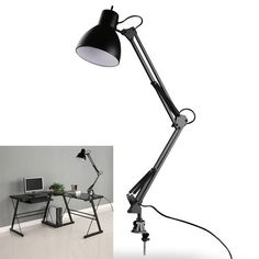 Flexible Swing Arm Clamp Mount Lamp Office Studio Home E27/E26 Table Black Desk Light AC85-265V Sale - Banggood.com