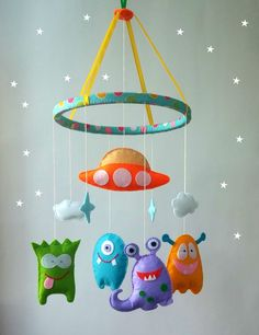 Space baby crib mobile Nursery Felt Cot Hanging crib mobile Boy mobile Girl mobile New baby gift Select your color Felt Nursery mobile-alien cot mobile-hanging crib mobile-alien baby crib mobile-Monster Mobile-Space Mobile-baby mobile-new baby crib mobile Baby Crafts, Felt Crafts, Kids Crafts, Monster Kindergarten, Monster Nursery, Hanging Crib, Hanging Mobile, Baby Crib Mobile, Baby Toys