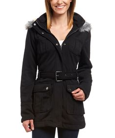 Urban Republic Black Faux Fur Hooded Fleece Jacket | zulily - $19.99 $70.00 size: size chart S M L   Product Description:  Keep warm in cool weather with this chic jacket. An attached hood offers full protection from the elements.  Size note: This item runs in juniors sizing. We recommend ordering one size up.      Size M: 34'' long from high point of shoulder to hem     Removable hood     Zip closure     Detachable belt     Snap storm flap    Dual entry pockets / chest pockets 100%…