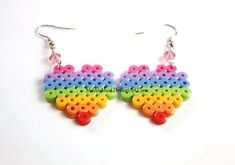 Perler Earrings - Rainbow Heart - Pink Bead by MelodyMaid Perler Bead Designs, Easy Perler Bead Patterns, Perler Bead Templates, Perler Bead Art, Perler Earrings, Paper Quilling Jewelry, Fusion Beads, Iron Beads, Melting Beads