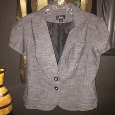 "Juniors Short Sleeve Blazer 2-button front closure with subtle ruffle detail in the back. This sits right at the end of my waist (I'm 5'4"" and I don't have a long torso if that helps). Looks super cute with jeans, slacks or a skirt! B-Wear Jackets & Coats Blazers"