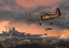 Swordfish lanzando el torpedo que sellaría el destino del Bismarck, en obra de Ron Cole BFD.