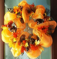 Deco Mesh Wreath Fall  Brown orange leopard ribbon leaves and gold colors