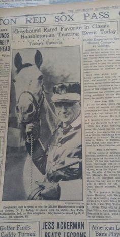 AUG 14, 1935 NEWSPAPER PAGE #J5386- GREYHOUND RATED FAVORITE IN HAMBLETONIAN
