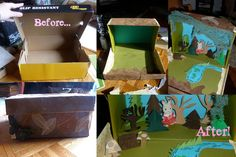 Shoebox diorama... Into the Woods! Just used scrap paper, hot glue gun, homemade mod podge and some cheesecloth ;)