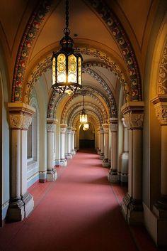 Corridor inside Schloss Neuschwanstein in Bavaria, Germany (by dmmaus).