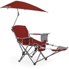 Beach Recliner Chair Swiveling Umbrella Folding Outdoor Fishing Camping Patio