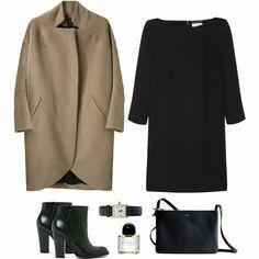 black dress, black booties, tan jacket, black watch, black bag