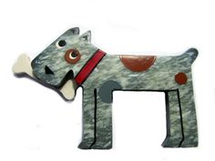 """MARIE CHRISTINE PAVONE  DOG WITH BONE 3.25"""" Approx  BROOCH PIN  £58"""