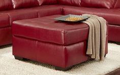 Martina Polyester Ottoman - Contempo Red, 472400-O-CR by Chelsea Home Furniture | BizChair.com