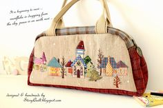 collectible,wall art, wall decorative, decorative, bag, boston bag, handbag, shoulder bag, Japanese patchwork, taupe quilt, quilted bag, quilt, applique, little houses, story books, snowing, snow, embroidery,zakka, zakka style, Japanese zakka style,