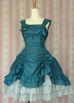 Robe turquoise pli Gothique Lolita Dresses