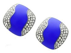 Stainless Steel High Polish Crystal Clear Earrings