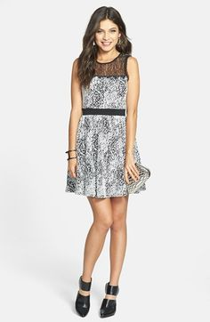 Soprano 'Faith' Lace Yoke Skater Dress (Juniors)