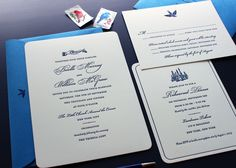 navy blue letterpress invitations with vintage imagery for an NYC wedding