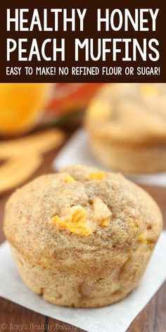 Healthy Honey Peach Muffins – an easy, clean-eating breakfast! These healthy muffins are as tender as cupcakes! NO refined flour or sugar! ♡ healthy greek yogurt peach muffins. whole wheat peach muffins. easy peach muffins recipe with canned peaches. Healthy Peach Muffins, Peach Muffin Recipes, Healthy Muffin Recipes, Healthy Sweets, Healthy Dessert Recipes, Fruit Recipes, Healthy Baking, Peach Recipes Breakfast, Shrimp Recipes
