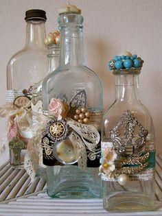 Mixed media altered bottles