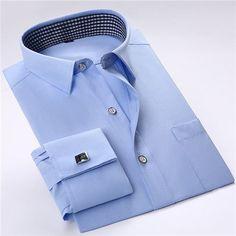 High quality France cufflink men shirts long sleeve Button male shirts