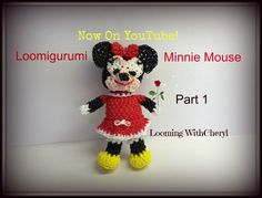 Rainbow Loom Minnie Mouse of Loomigurumi - Looming WithCheryl. In this Video I will be showing you how to crochet, and create this Loomigurumi Amigurumi Minnie Mouse. I will be using Rainbow Loom Rubber bands, and Just my hook. This Video Rainbow Loom Bands, Rainbow Loom Charms, Rainbow Loom Bracelets, Rainbow Loom Tutorials, Rainbow Loom Creations, Free Activities For Kids, Loom Craft, Origami Rose, Ribbon Sculpture