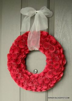 How great would this paper rose wreath look greeting your guests at your next birthday, shower, or Valentine's Day party? Target has one on sale now similar to this (just a brighter red) for the holidays for $39.99!! Gorgeous but no way!
