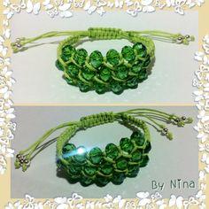 Pulsera Shamballa triple verde